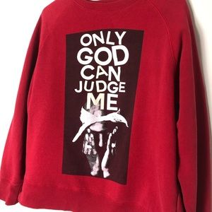 Red Tupac pullover sweater